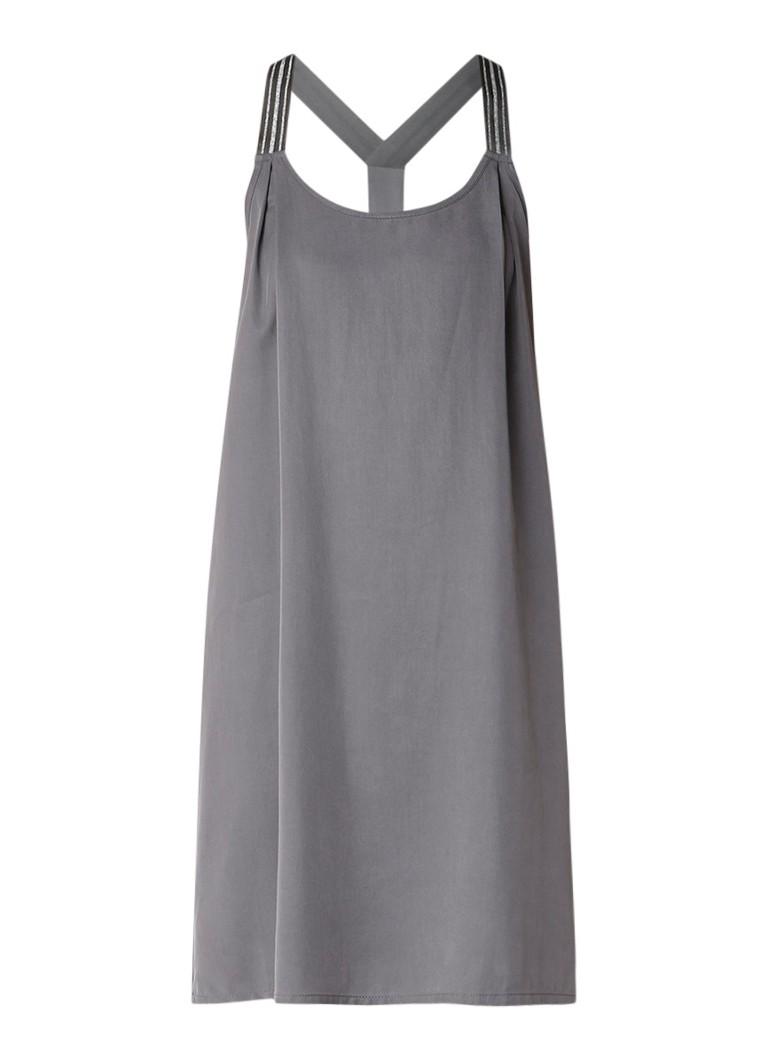 Sandwich Midi-jurk met racerback en lurex details middengrijs