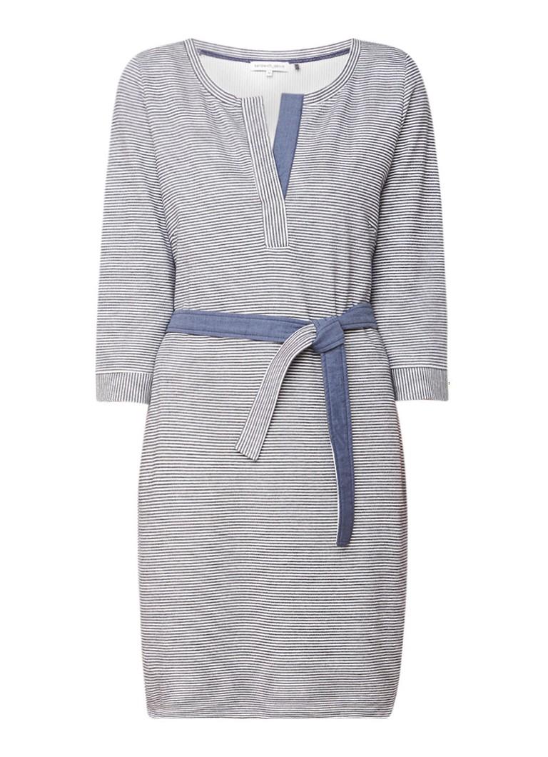 Sandwich Jersey jurk met ingebreid streepdessin en ceintuur donkerblauw