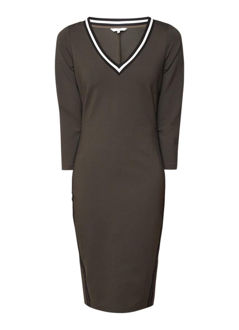 Sandwich Jersey jurk met V-hals en contrastbies legergroen