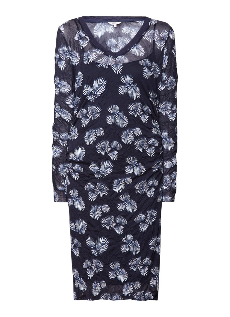 Sandwich Crinkle mesh jurk met dessin donkerblauw