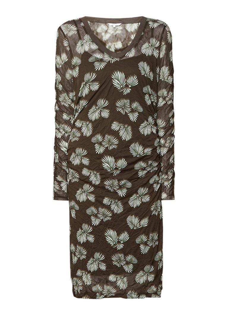 Sandwich Crinkle mesh jurk met dessin legergroen