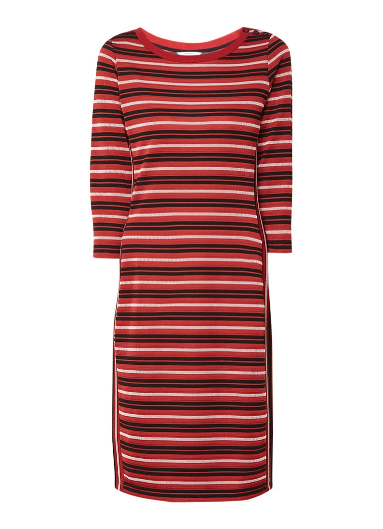 Sandwich Jersey jurk met structuur en streepdessin steenrood