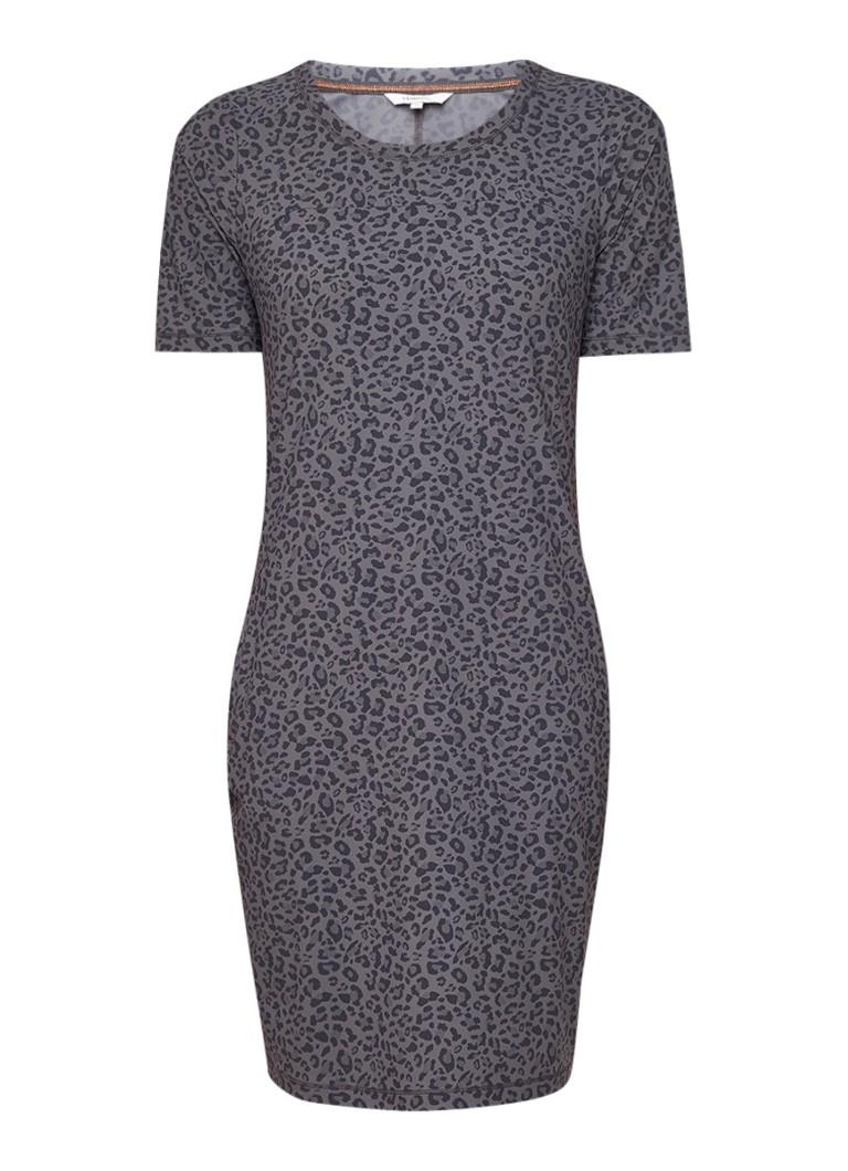 Sandwich Jersey jurk met steekzakken en luipaarddessin middengrijs