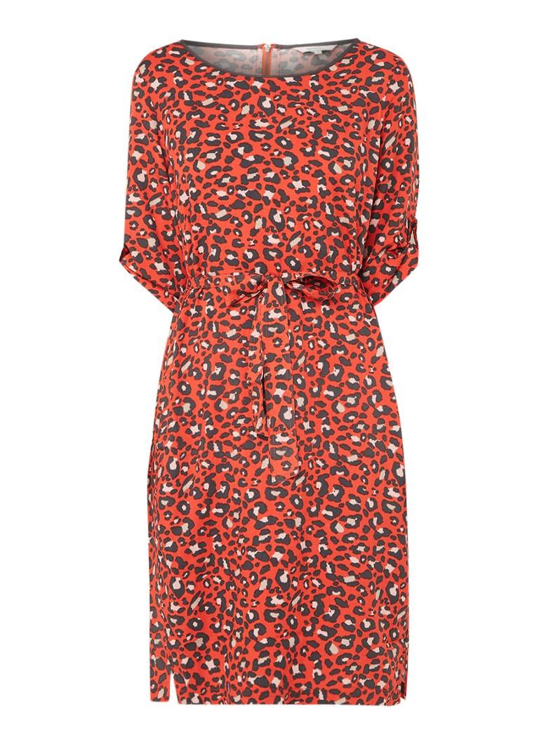 Sandwich Mid jurk met strikceintuur en animaldessin rood