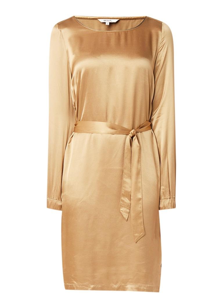Sandwich Midi-jurk van satijn met strikceintuur goud