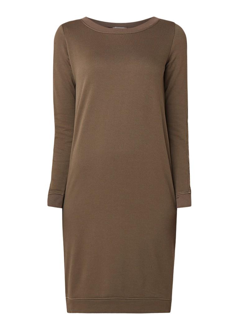 Sandwich Trui-jurk van jersey met inzet van kant olijfgroen