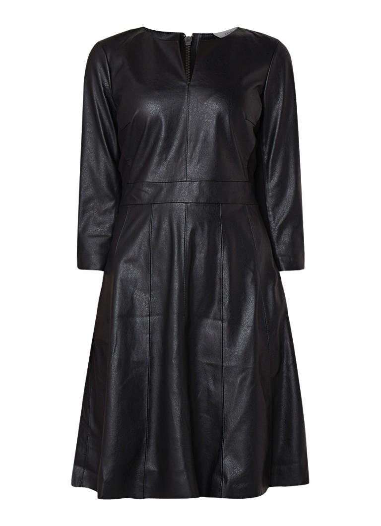 Sandwich A-lijn jurk van imitatieleer met jersey inzet zwart