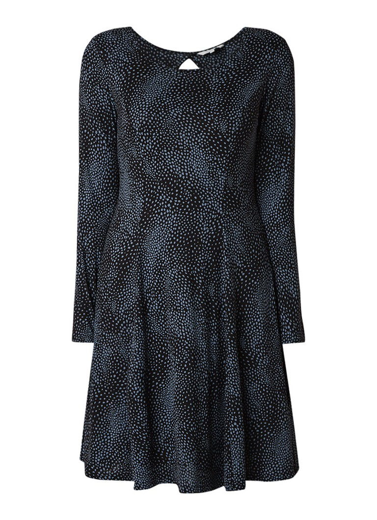 Sandwich A-lijn jurk van jersey met key-hole zwart