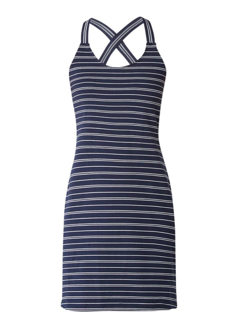 Sandwich Singlet jurk met elastische schouderbanden donkerblauw