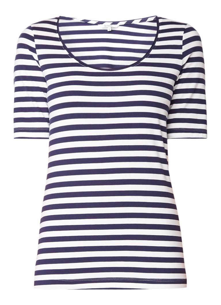 Sandwich T-shirt met streepdessin en halflange mouw