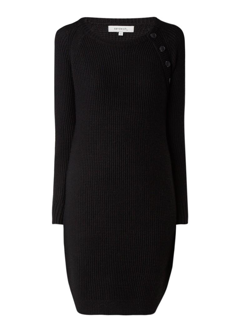Sandwich Grofgebreide jurk in wolblend met knoopdetail zwart