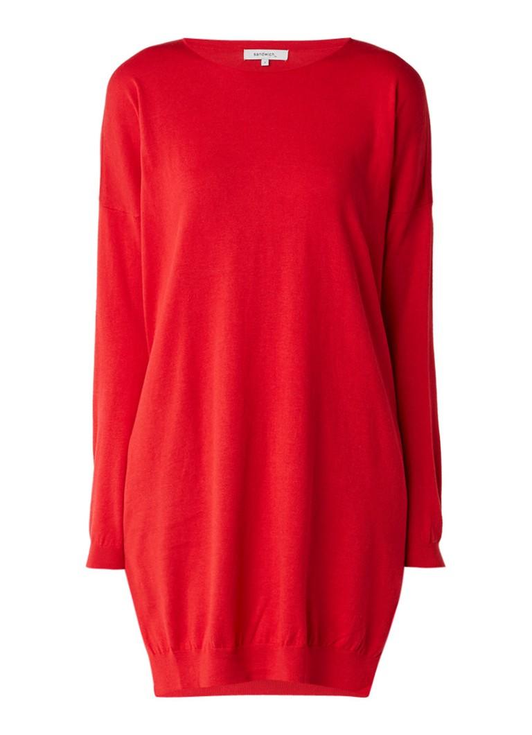 Sandwich Fijngebreide loose fit trui-jurk in katoenblend rood