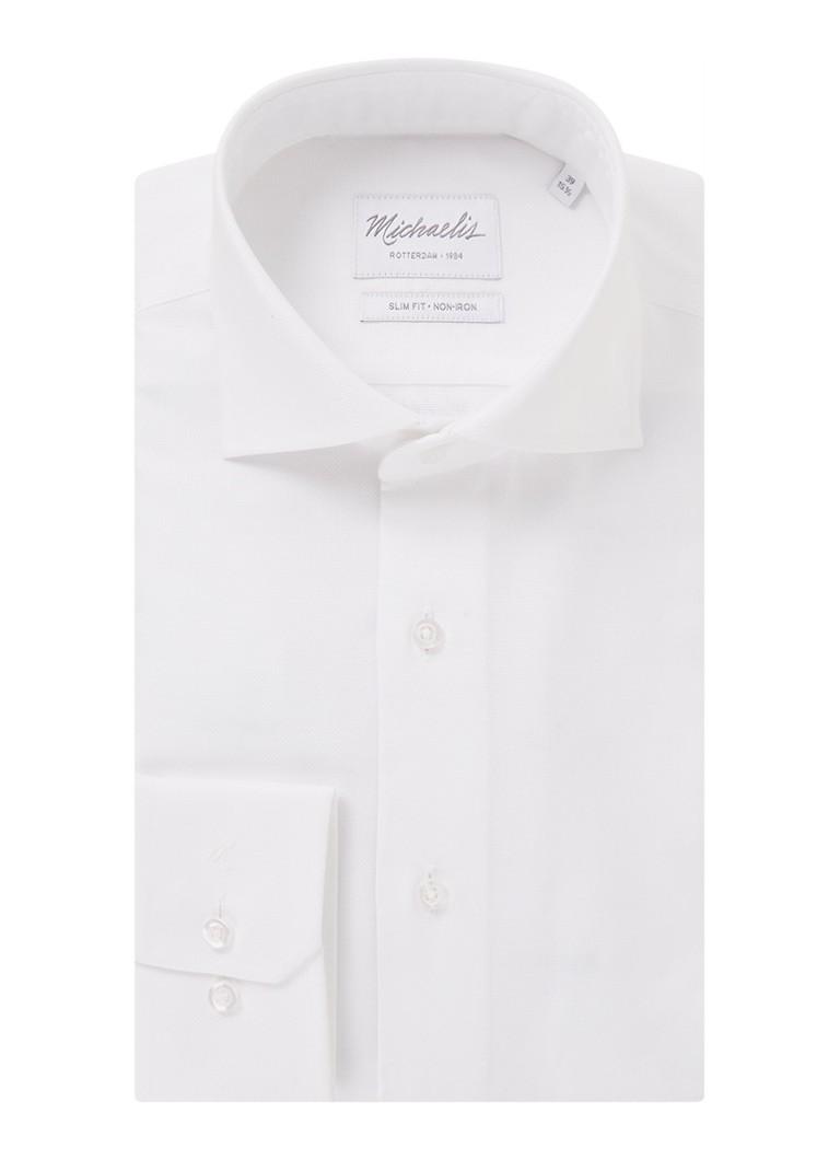 Michaelis Slim fit strijkvrij overhemd met cut away kraag