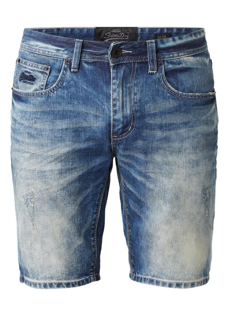 Superdry Slim fit denim shorts met destroyed details