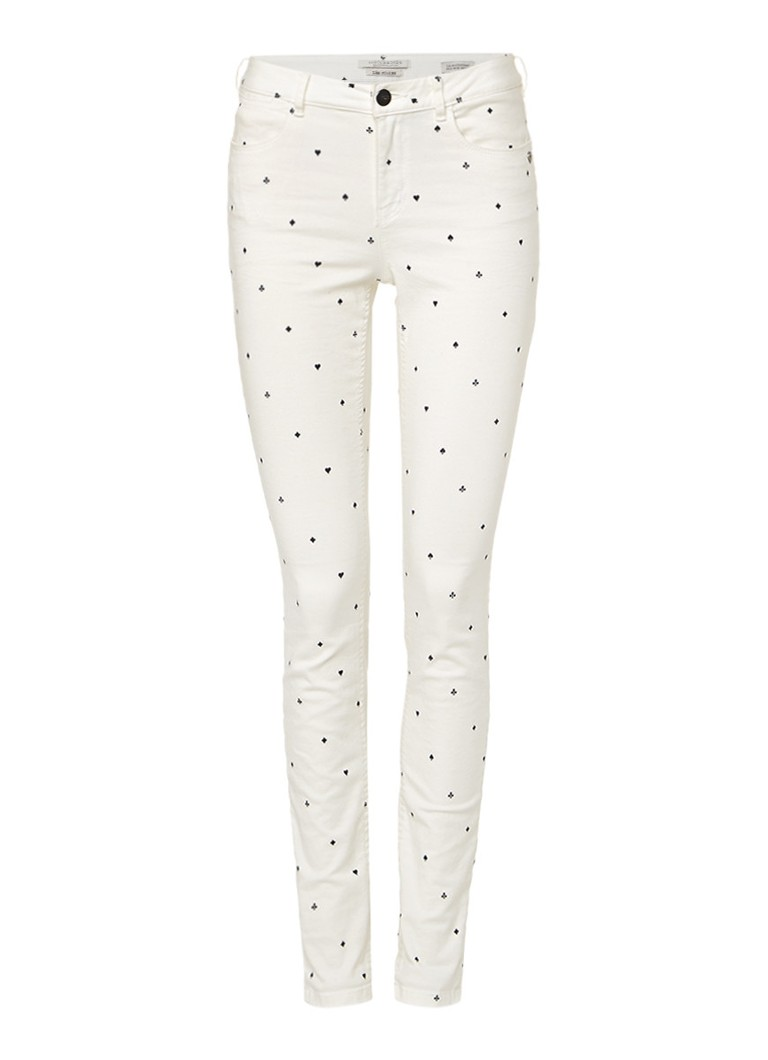 Scotch and Soda Mid rise skinny jeans met dessin