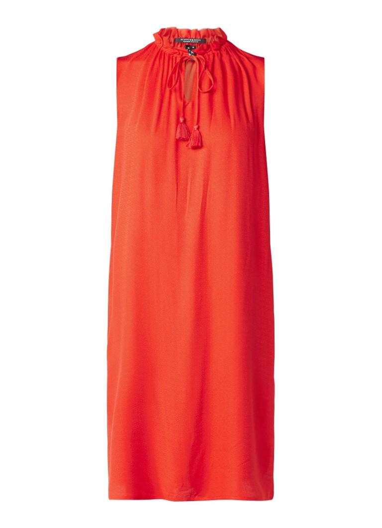 Scotch & Soda Mouwloze jurk met ruches en keyhole rood