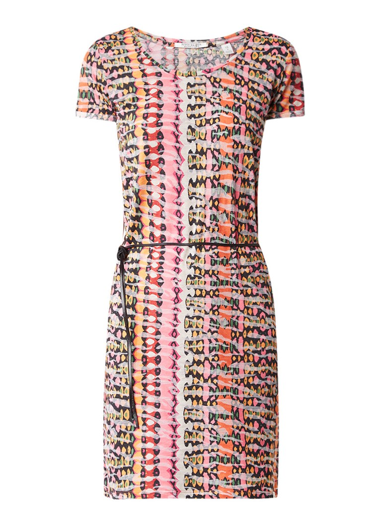 Scotch & Soda T-shirt jurk met grafische print en smal ceintuur donkerroze