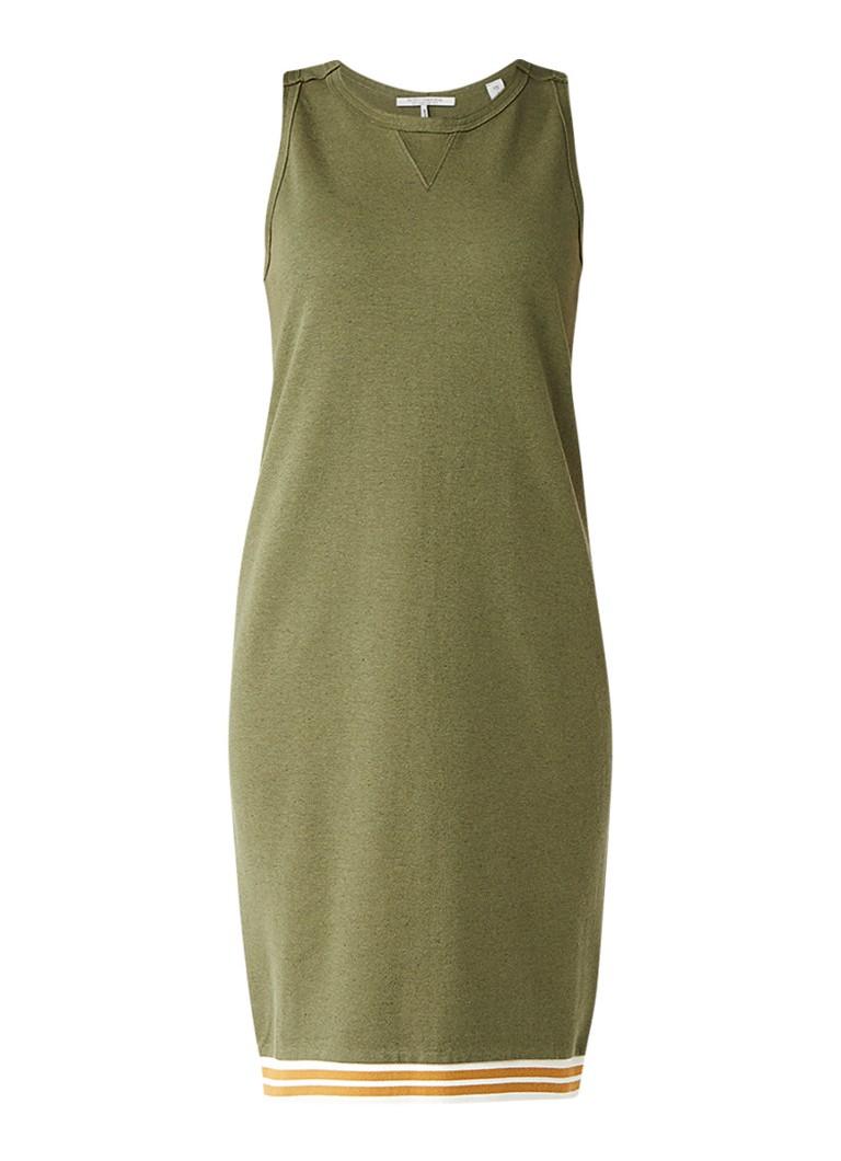 Scotch & Soda Jersey jurk met gestreepte boord legergroen