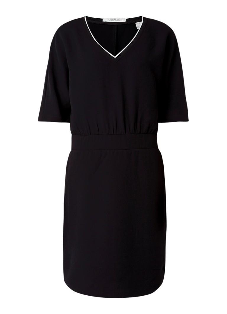 Scotch & Soda Midi-jurk met contrasterende overlay zwart
