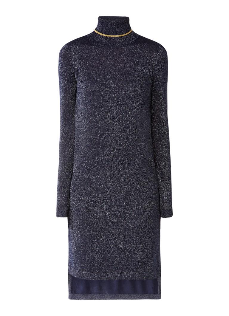 Scotch & Soda Trui-jurk met col en lurex blauwgrijs