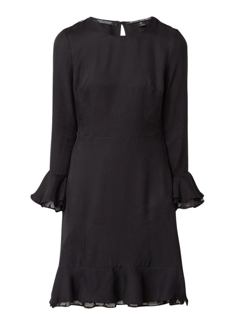 Scotch & Soda A-lijn jurk met sterrenprint op mesh inzet zwart