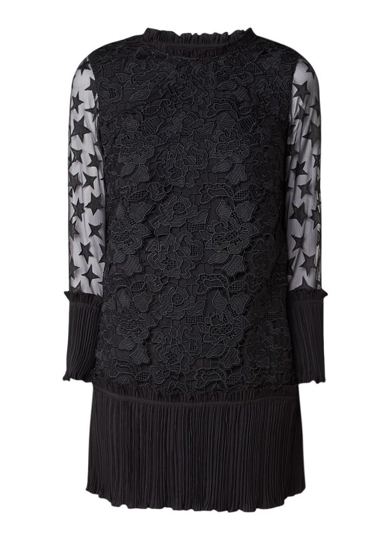 Scotch & Soda Stars jurk met inzet van mesh en kant zwart