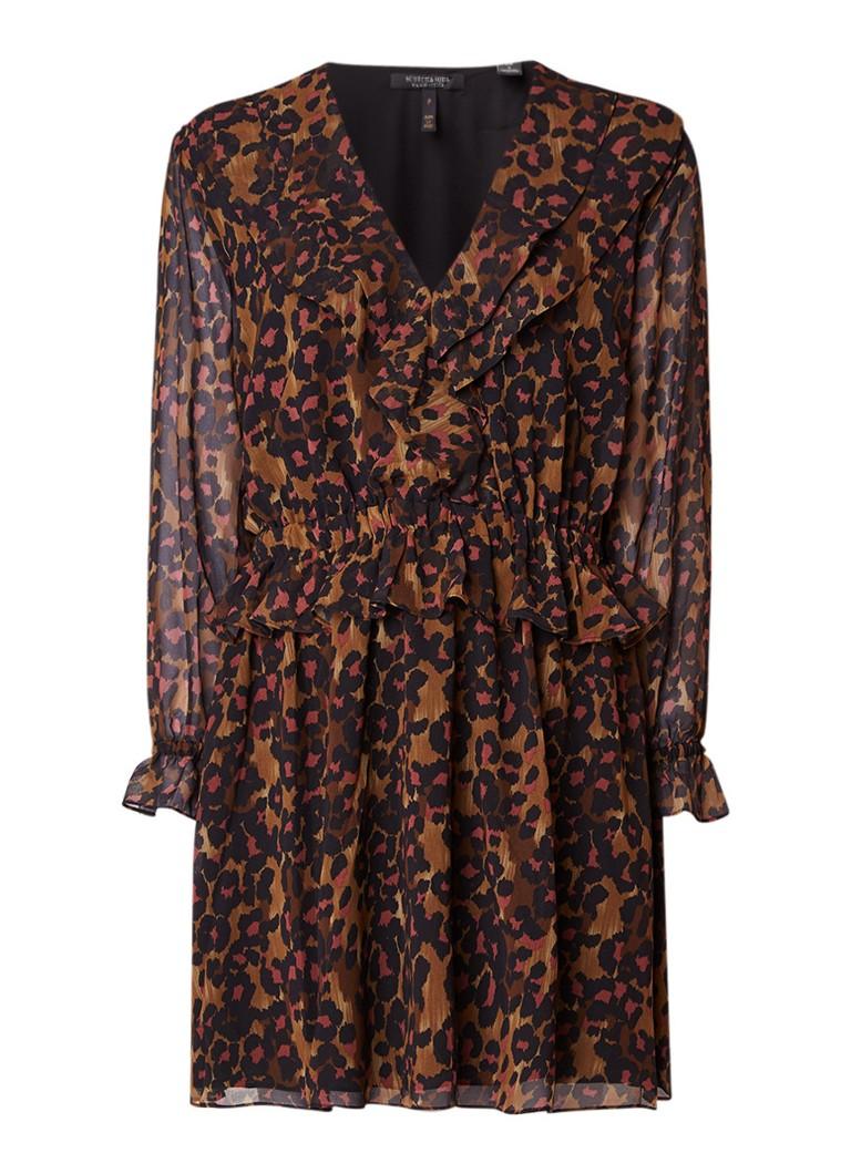 Scotch & Soda A-lijn jurk met ruches met luipaarddessin cognac