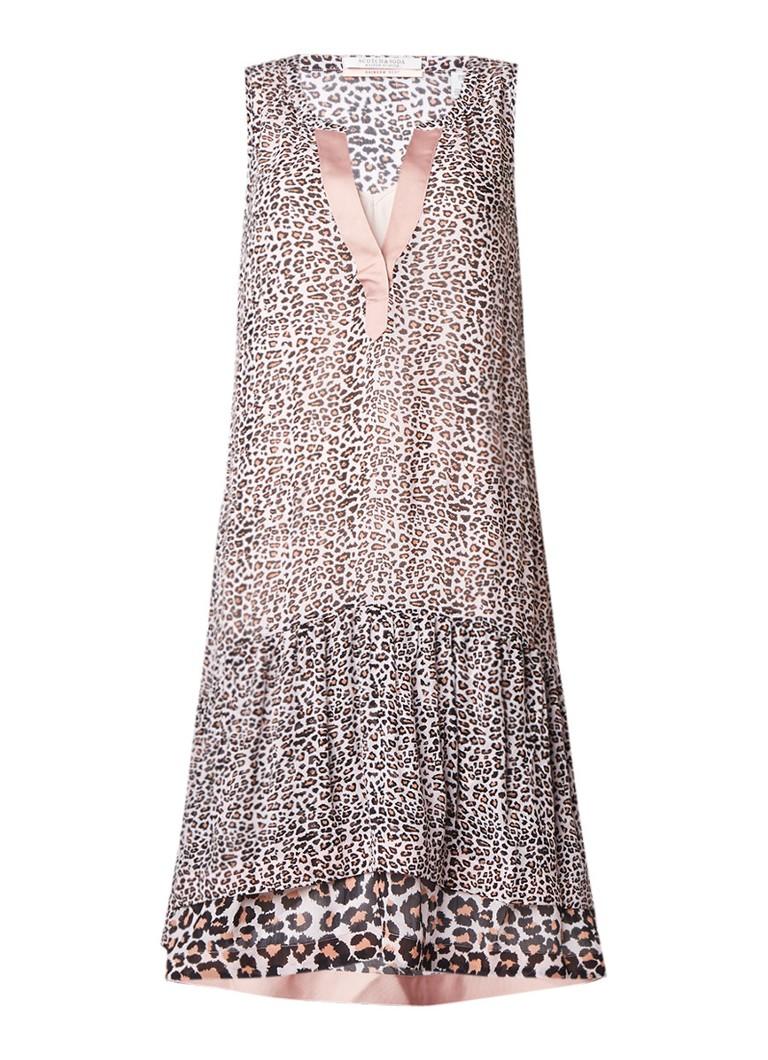 Scotch & Soda Mouwloze gelaagde jurk met luipaarddessin bruin