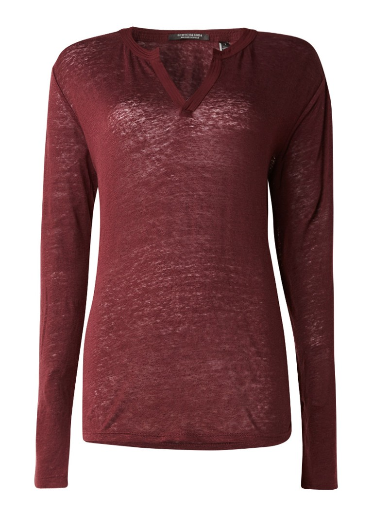 Scotch and Soda Longsleeve van linnen met V-hals