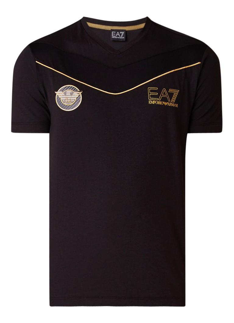Armani T-shirt met metallic logoprint