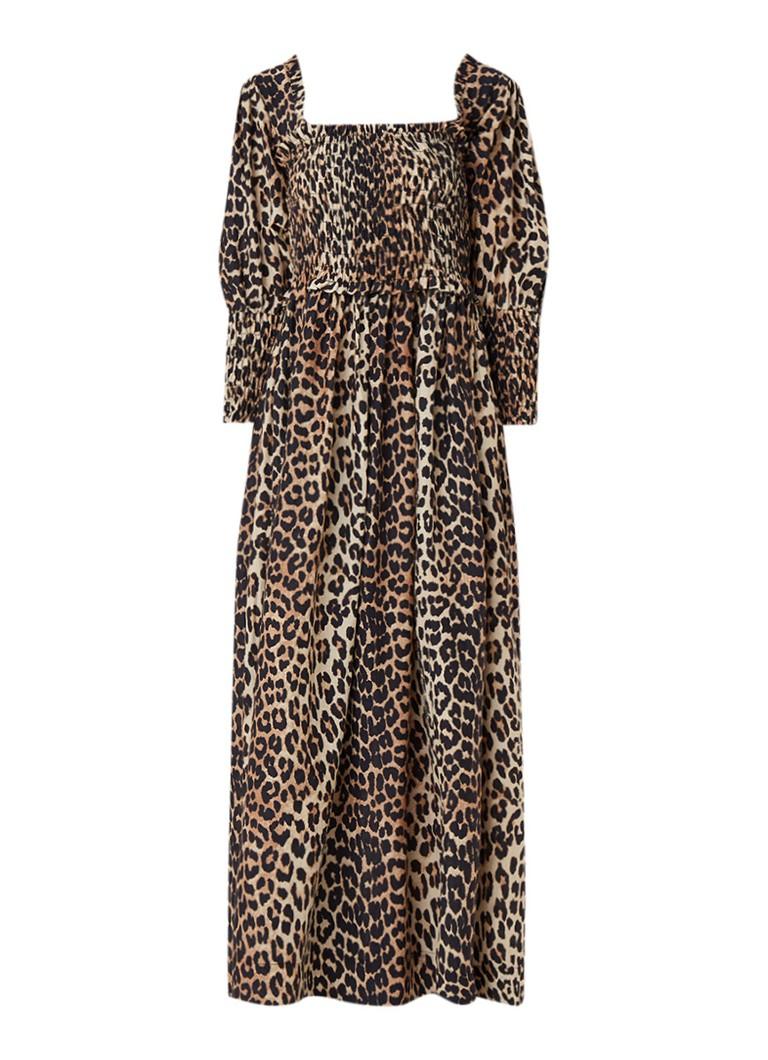 Ganni Maxi-jurk in zijdeblend met gesmockt detail en luipaarddessin lichtbruin