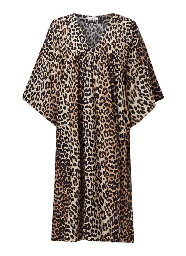 Ganni Oversized midi-jurk in zijdeblend met luipaarddessin lichtbruin