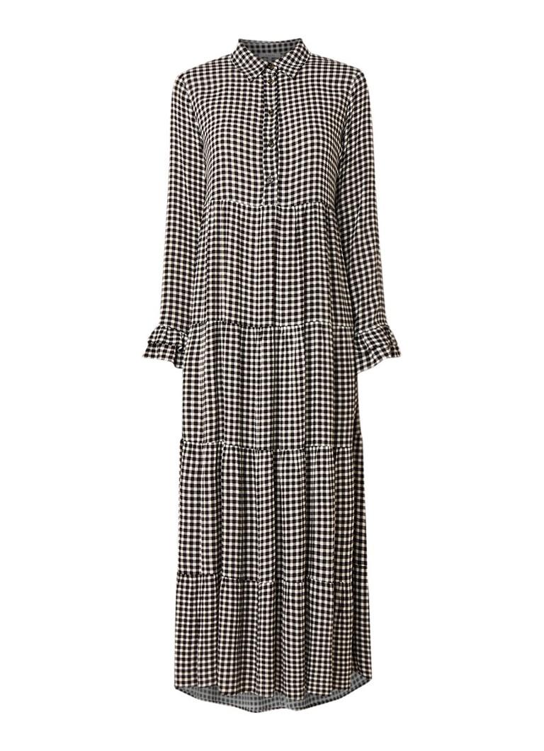 Ganni Maxi-jurk van crêpe met gingham dessin zwart