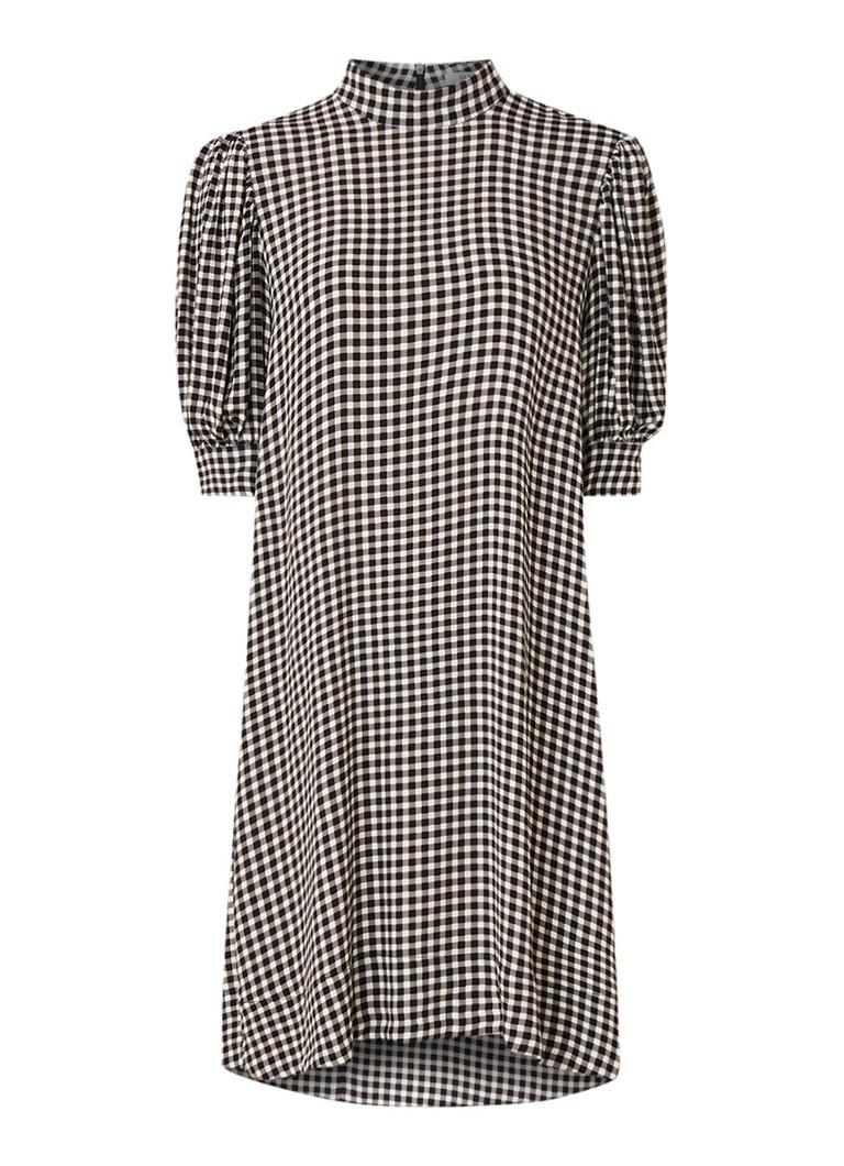Ganni Loose fit mini-jurk van crêpe met gingham dessin zwart