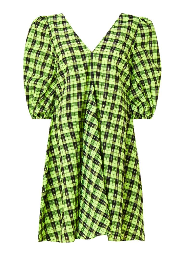 Ganni Loose fit mini-jurk van seersucker met ruitdessin neongeel