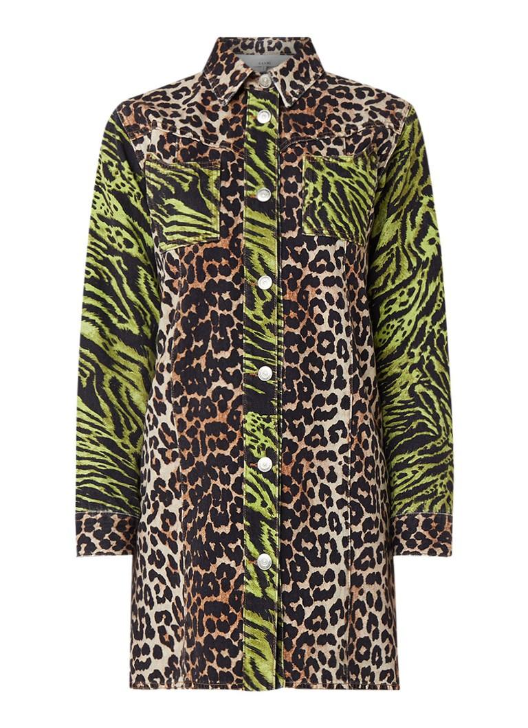 Ganni Mini-jurk van denim met luipaard- en tijgerdessin multicolor