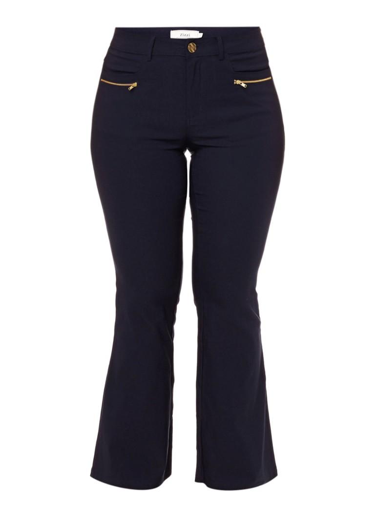 Zizzi Bootcut broek met stretch blauw
