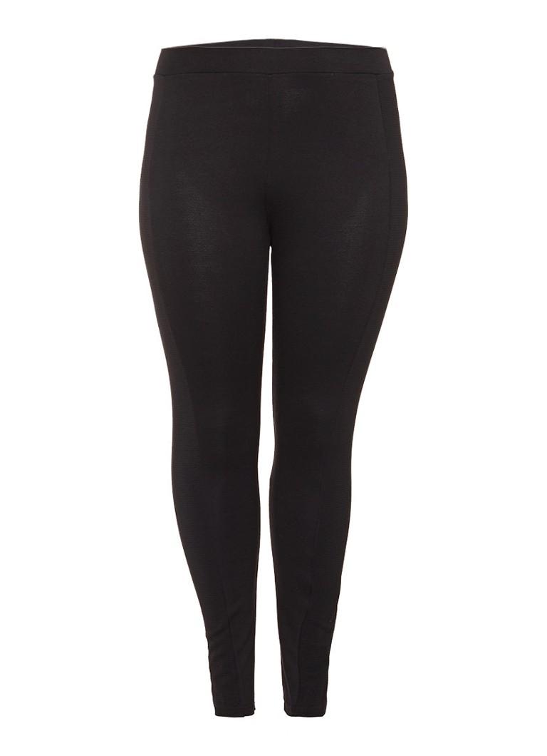 Junarose Nia legging van stretch jersey met geribde biezen zwart