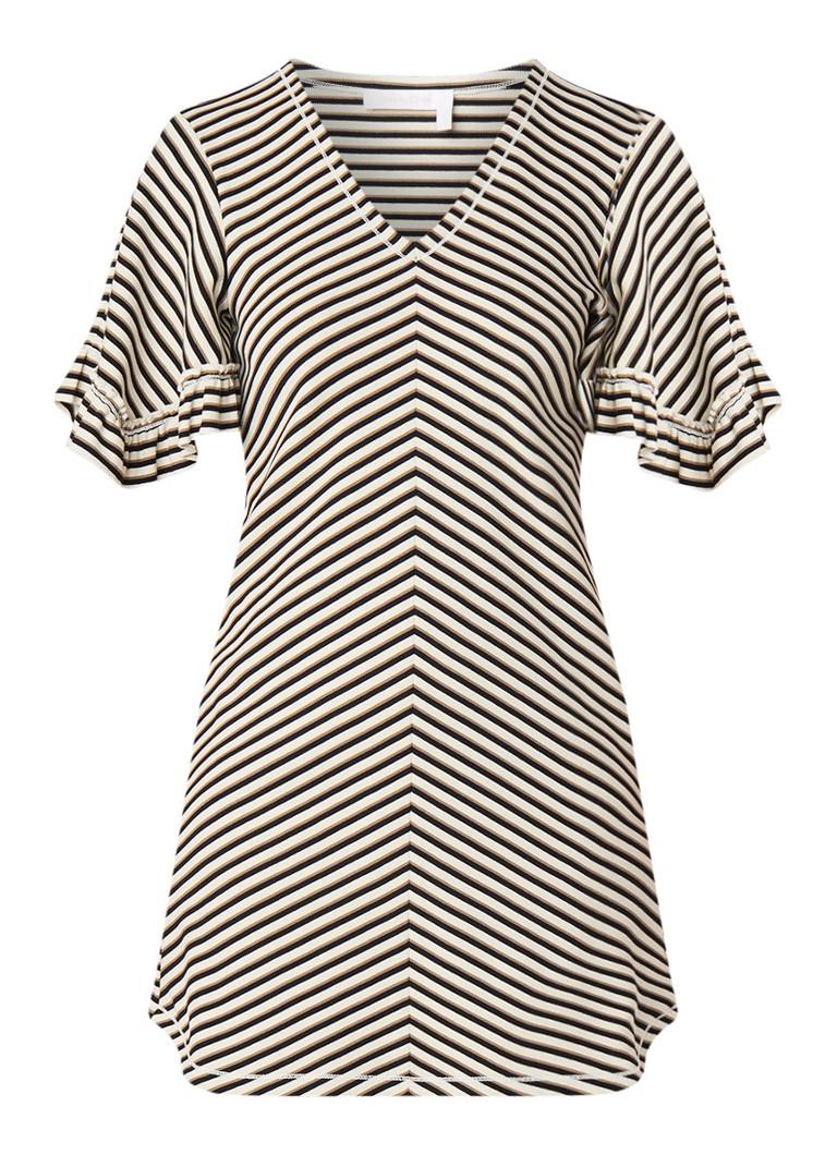 See By Chloé Mini-jurk met streepdessin en volantmouw creme
