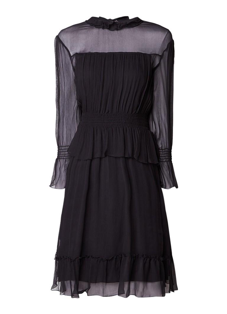 See By Chloé A-lijn jurk van zijde met ruches en strikdetail zwart