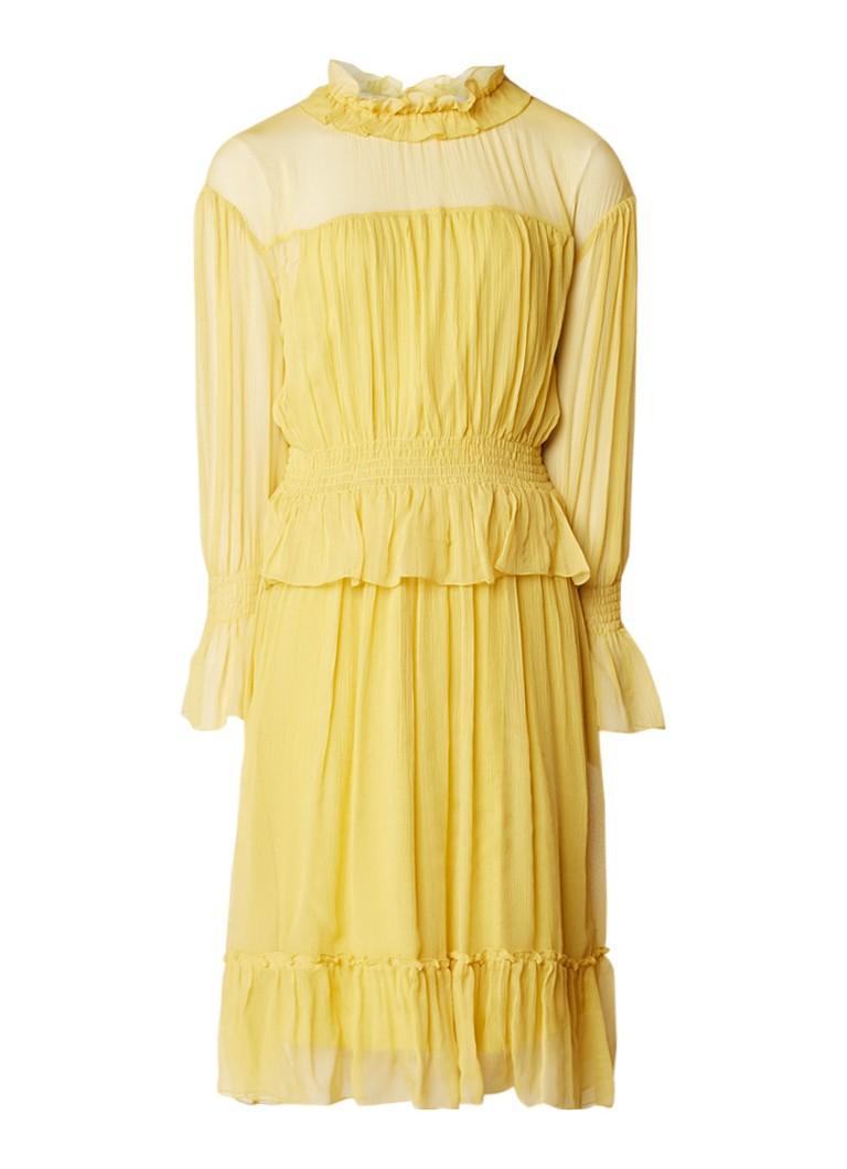 See By Chloé A-lijn jurk van zijde met ruches en strikdetail okergeel