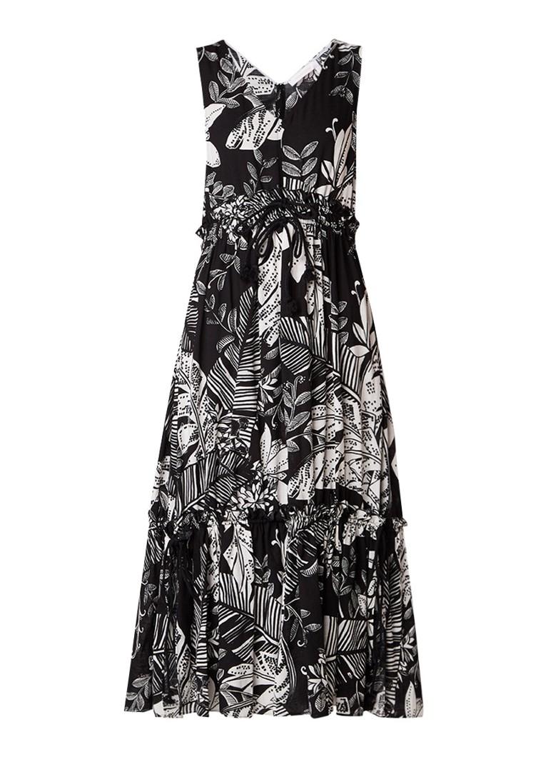 See By Chloé Maxi-jurk met ruches en print van bladeren zwart