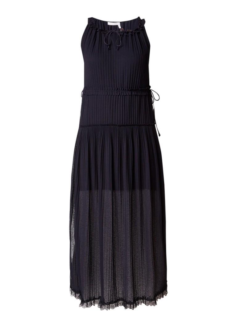 See By Chloé Maxi-jurk met ruches en detail van kant donkerblauw