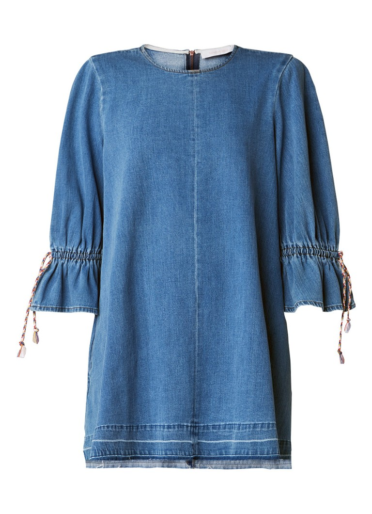 See By Chloé A-lijn jurk van denim met volantmouw indigo