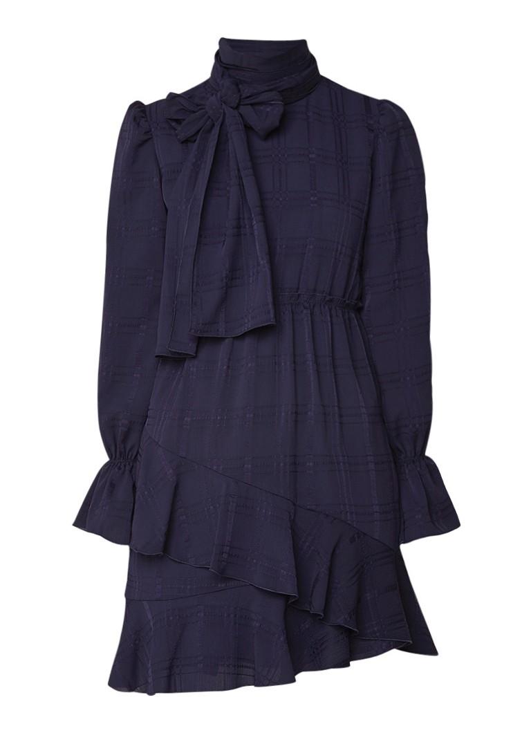 See By Chloé A-lijn jurk met strikkraag en volant donkerblauw
