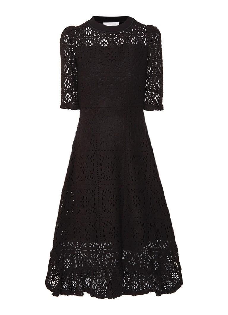 See By Chloé Gehaakte midi-jurk met halflange mouw zwart