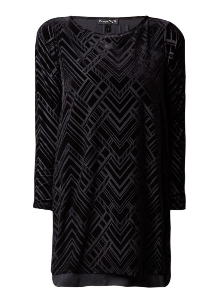 Phase Eight Tami tuniekjurk met grafisch patroon van fluweel zwart