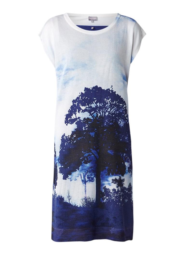 Phase Eight Carlotta fijngebreide tuniekjurk met print en onderjurk blauw