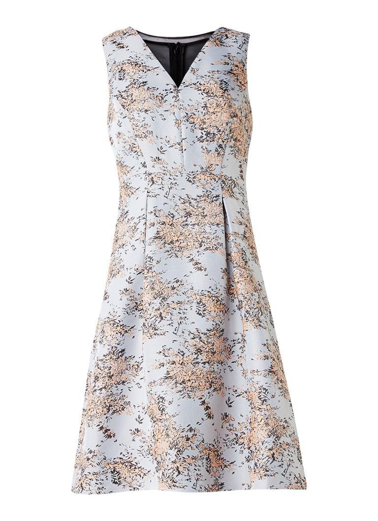 Phase Eight Elebeth A-lijn jurk met jacquarddessin en mesh inzet lichtblauw