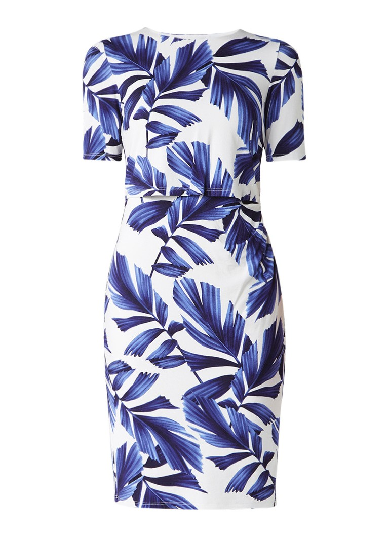 Phase Eight Eloise midi-jurk met palmprint donkerblauw